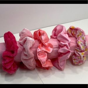 Scrunchies set of 5 shades of pink